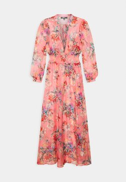 Missguided - FLORAL SHIRRED WAIST PLUNGE COVER UP - Beach accessory - pink