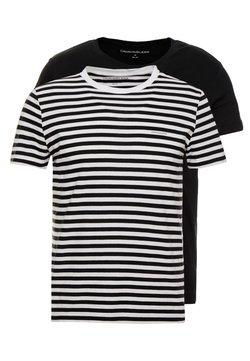Calvin Klein Jeans - SLIM 2 PACK  - T-Shirt print - black beauty/bright white