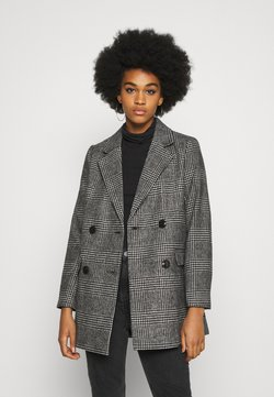 New Look - EMMA CHECK COAT - Kurzmantel - grey