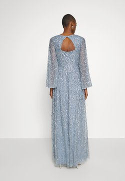 Maya Deluxe - LONG BELL SLEEVE ALL OVER DRESS WITH CUT OUT BACK - Vestido de fiesta - dusty blue