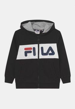 Fila - FRANKLIN BLOCKED HOODED UNISEX - Sudadera con cremallera - black/bright white