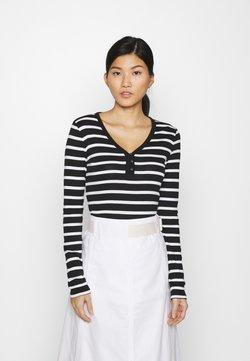 GAP - FAV HENLEY - Langarmshirt - black/white