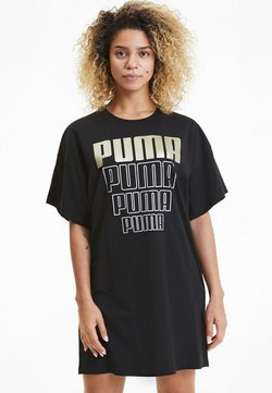Puma - REBEL TEE  - Robe en jersey - black-gold silver