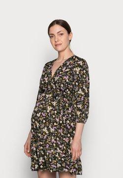 New Look Maternity - FLORAL FRILL WRAP MINI - Freizeitkleid - black pattern