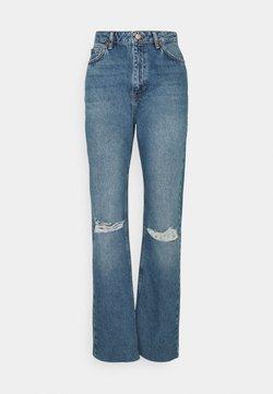 NA-KD Tall - HIGH WAIST RAW HEM DESTROYED - Jeans baggy - blue