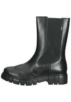 Steven New York - Enkellaarsjes met plateauzool - black leather