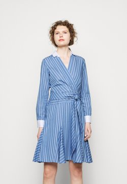 Lauren Ralph Lauren - POPLIN-DRESS - Freizeitkleid - cabana blue/white