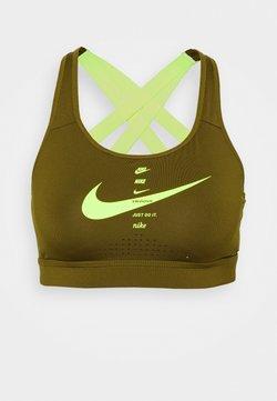 Nike Performance - IMPACT STRAPPY BRA - Urheiluliivit - olive flak/volt