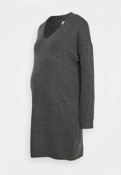 Pieces Maternity - PCMSTAR NECK  - Stickad klänning - dark grey melange