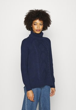 GAP - CABLE TURTLENECK - Strickpullover - navy marl