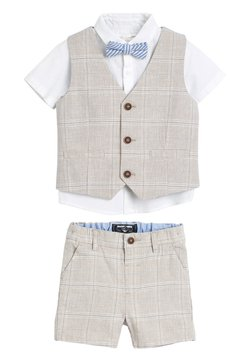 Next - STONE WAISTCOAT, SHIRT AND SHORTS SET  - Bodywarmer - beige