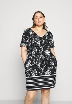 CAPSULE by Simply Be - SHORT SLEEVE V NECK SHIFT DRESS - Sukienka letnia - mono