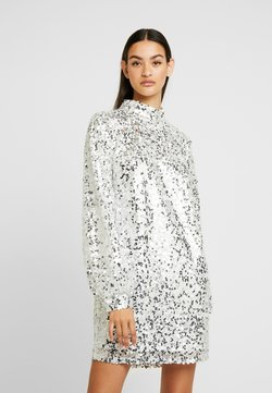 Nly by Nelly - HIGH NECK SEQUIN DRESS - Day dress - silver