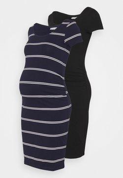 Anna Field MAMA - 2 PACK - Jerseykleid - black/dark blue/white