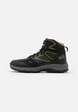 Jack Wolfskin - DOWNHILL TEXAPORE MID  - Hikingschuh - black/lime