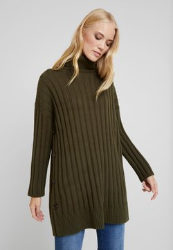 Marc O'Polo - LONGSLEEVE TURTLENECK CAPE OPTIC BUTTON DETAILS - Strickpullover - farmland green