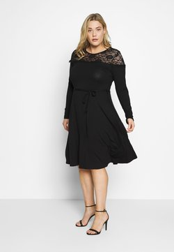 Dorothy Perkins Curve - VICTORIANA FIT AND FLARE DRESS - Shift dress - black