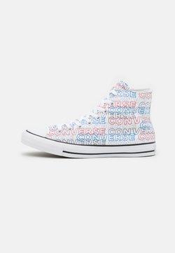 Converse - CHUCK TAYLOR ALL STAR WORDMARK PRINT UNISEX - Korkeavartiset tennarit - white/university red/digital blue
