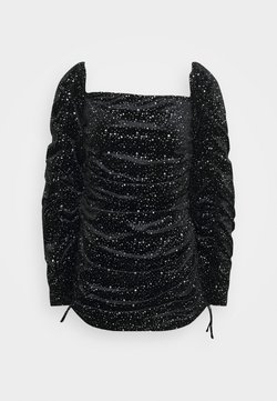 Missguided Petite - TIE SLEEVE RUCHED GLITTER DRESS - Cocktail dress / Party dress - black