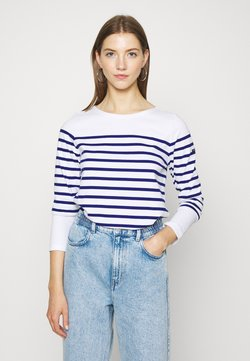 Scotch & Soda - CLASSIC ENGINEERED BRETON - Langarmshirt - white/blue