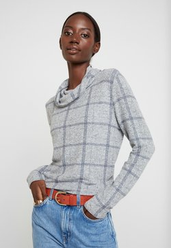 TOM TAILOR - COSY CHECK ROLL NECK - Neule - grey melange check