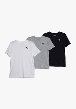 Abercrombie & Fitch - 3 PACK - T-shirt basic - navy/white/grey