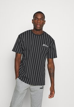 New Era - NEW ERA PINSTRIPE OVERSIZED TEE - Print T-shirt - black