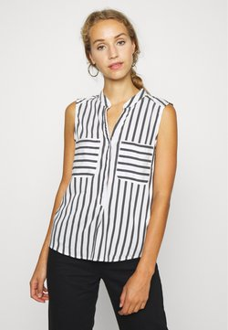 Vero Moda - VMERIKA STRIPE - Camisa - snow white/opposite black