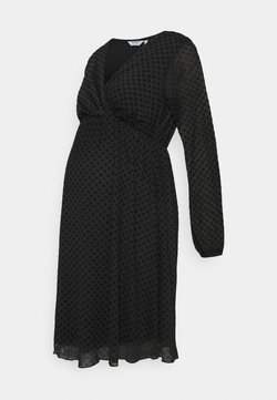 Dorothy Perkins Maternity - MATERNITY WRAP DOBBY DRESS - Jerseykleid - black