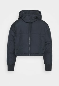 Topshop Petite - LUCY CROPPED HOODED PUFFER - Winterjacke - navy