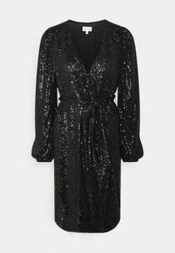 Milly - SIENA MINI SEQUINS WRAP DRESS - Vestido de cóctel - black