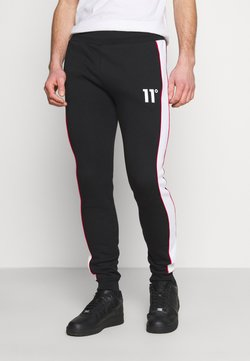 11 DEGREES - COLOUR BLOCKED PIPED JOGGERS - Jogginghose - black/white/goji berry red