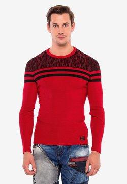Cipo & Baxx - MIT COOLEN STREIFEN-DETAILS - Strickpullover - red/black