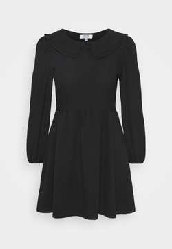 Dorothy Perkins Petite - COLLAR DETAIL FAUCHETTE FIT AND FLARE DRESS - Day dress - black