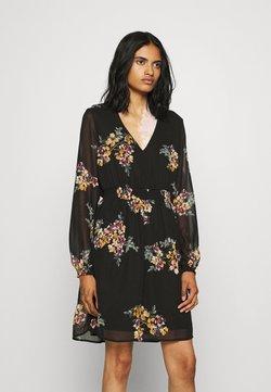 Vero Moda - VMALLIE SHORT SMOCK DRESS - Freizeitkleid - black/allie yellow