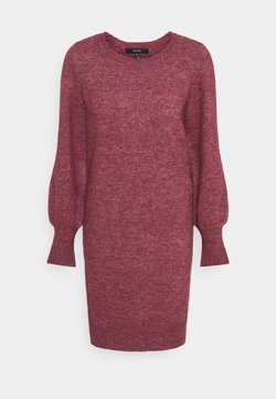 Vero Moda - VMSIMONE O-NECK DRESS - Strickkleid - cabernet/melange