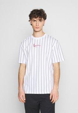 Karl Kani - SMALL SIGNATURE PINSTRIPE TEE UNISEX - T-Shirt print - white/black
