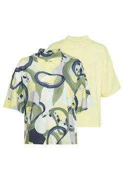 Monki - INA 2 PACK  - Camiseta básica - yellow/khaki green