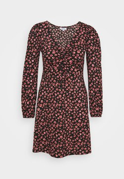 Dorothy Perkins Petite - FLORAL RUCHED FRONT FAUCHETTE MINI DRESS - Freizeitkleid - pink