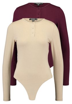 Missguided - BUTTON UP NECK LONG SLEEVED BODYSUIT 2 PACK - Pitkähihainen paita - camel/burgundy