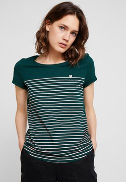 TOM TAILOR DENIM - PRINTED STRIPE TEE - T-Shirt print - green/rose