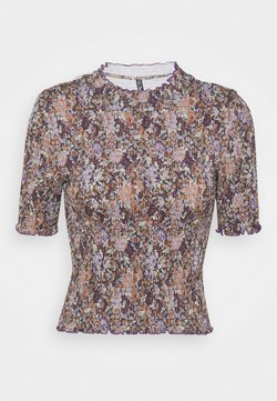 Pieces Petite - PCLEASTE SMOCK - T-Shirt print - black/olive/purple