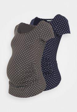 Anna Field MAMA - 2 PACK - T-Shirt print - dark grey/dark blue