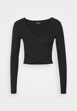 Even&Odd Tall - CROSS FRONT CROP - Pitkähihainen paita - black