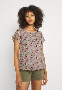 Vila - VIMILINA FLOWER - T-Shirt print - green milieu/red/pink