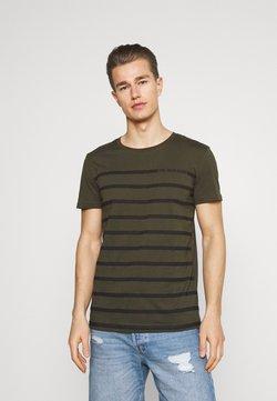 TOM TAILOR DENIM - STRIPE - T-Shirt print - woodland green