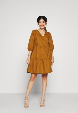 Object Petite - OBJSCHINNI WRAP DRESS PETIT - Kjole - brown