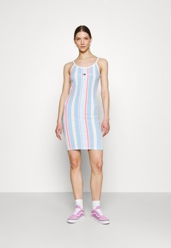 Tommy Jeans - STRIPE STRAP DRESS - Vestito di maglina - light powdery blue
