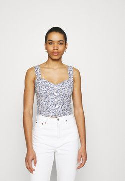 Abercrombie & Fitch - PLEATED WIDE STRAP BUTTON THRU - Top - blue/white