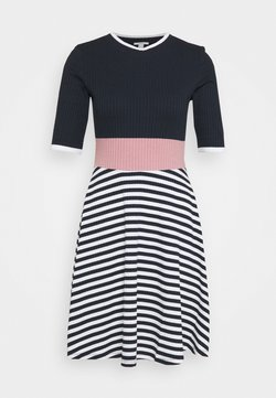 edc by Esprit - STRIPE DRESS - Strickkleid - navy